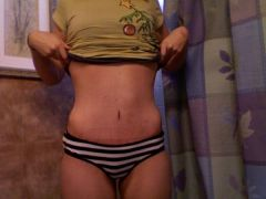 Three Weeks Post-Op  You can see my port... its that bump to the right of my belly button.  140lb