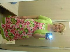 pics of clothes that i tried on.  this is a cute dress and is a size 16.  can't beleive it!  that is the only reason i tried it on-just to see if it fit.  sorrry it is sideways..