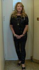 April in black leggings & sequin top