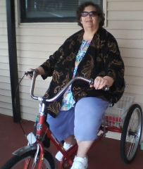 24 days after surgery and a 20 pound loss I am back on my trike.
