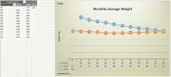 A comparative graph of my average weight by month.