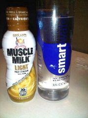 B - Muscle Milk Lite (Cafe Latte) and SmartWater