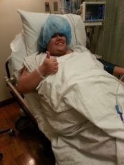 Surgery day! hat was fallin in my face. lol