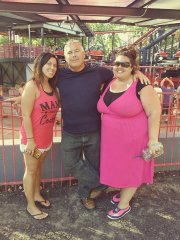With dad and sis at Six Flags StL.